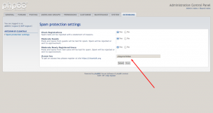 phpBB 3.1 antispam extension settings.